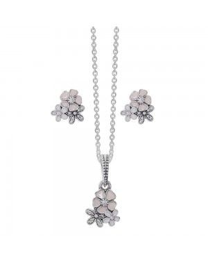 PANDORA Poetic Blooms Floral Jewellery Set JSP0181 With CZ In Silver