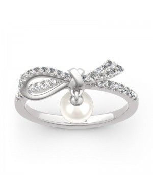 Bowknot Cultured Pearl Sterling Silver Promise Ring - Joanfeel Jewelry