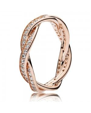 PANDORA Twist Of Fate Ring JSP0057 With Pave CZ In Rose Gold