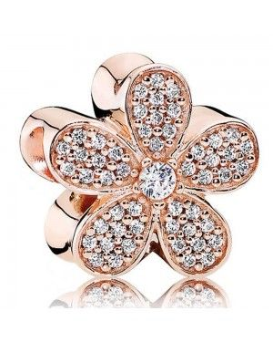 PANDORA Dazzling Daisy Floral Charm JSP0032 With Pave CZ In Rose Gold