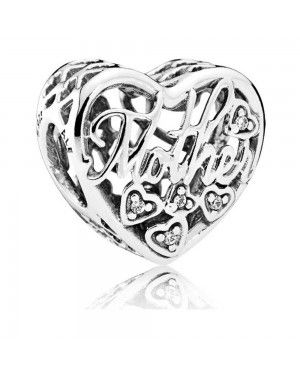 PANDORA Mother And Son Bond Family Charm JSP0612 With CZ In Silver