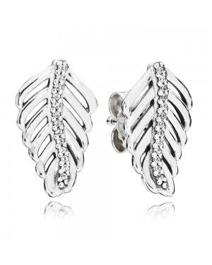 PANDORA Shimmering Feathers Feather Stud Earrings JSP1274 With Cubic Zirconia