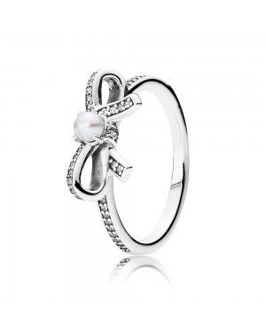 PANDORA Delicate Sentiments Pearl Bow Bows Ring JSP1386