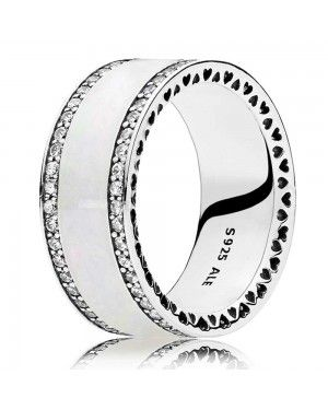 PANDORA Pearlescent Hearts Of Band Ring JSP1336 With Cubic Zirconia