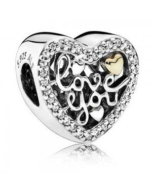 PANDORA Script Of Love Charm JSP0680 With CZ In Gold