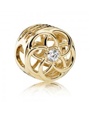 PANDORA Loving Bloom Floral Charm JSP1122 With Cubic Zirconia In Gold