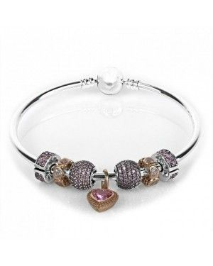 PANDORA Pink Love Complete Bangle JSP0226 With Clear CZ In Rose Gold