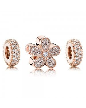 PANDORA Dazzling Daisy Floral Charm Set JSP0008 With CZ In Rose Gold