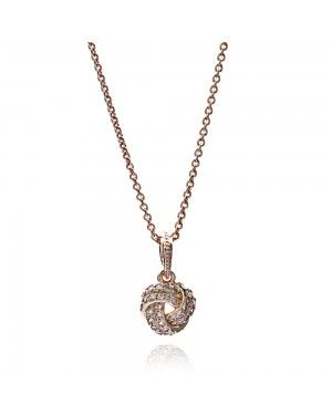 PANDORA Love Knot Necklace JSP0007 With CZ In Rose Gold