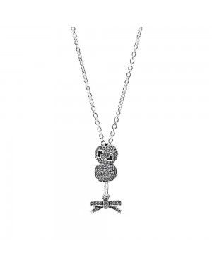 PANDORA Bow Bows Necklace JSP0072 With CZ In Sterling Silver