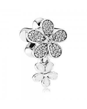 PANDORA Dazzling Daisy Duo Dropper Floral Charm JSP0622 In Silver