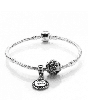 PANDORA Love You Mum Family Complete Bracelet JSP0469 With Pave CZ In Silver