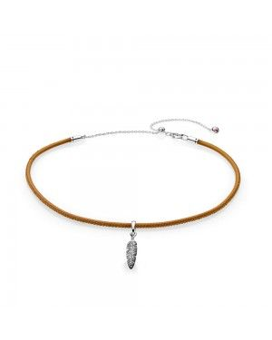 Pandora Golden Tan Leather Choker And Feather Necklace 397197CGT