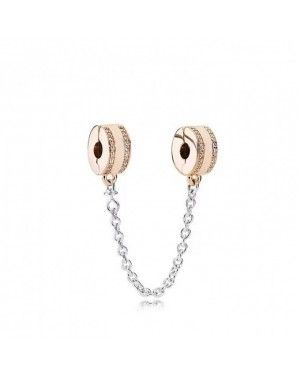 PANDORA Logo Safety Chain Charm JSP1082 With CZ In Rose