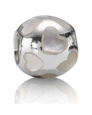 PANDORA Hearts Love Charm JSP1080 In White Mother Of Pearl