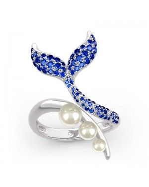 """""""Dancing by the Moonlight"""" Mermaid Tail Faux Pearl Cocktail Ring 