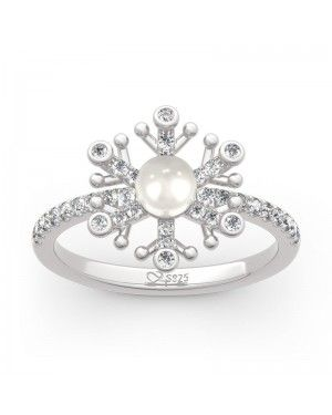 Joanfeel Snowflake Cultured Pearl Sterling Silver Cocktail Ring