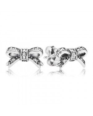 PANDORA Delicate Bow Bows Stud Earrings JSP1287 With Pave CZ