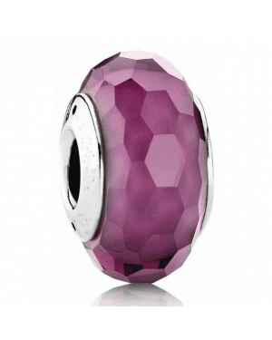 PANDORA Purple Faceted Charm JSP1592 In Murano Glass