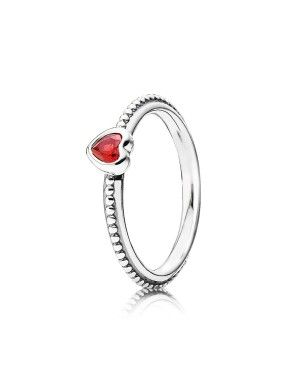 PANDORA Synthetic Ruby Heart Love Ring JSP1420 In Sterling Silver