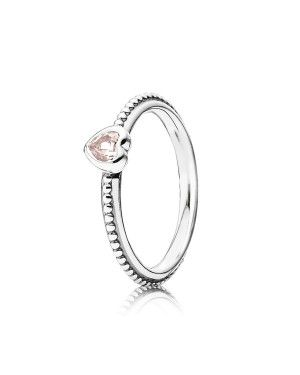 PANDORA Synthetic Pink Sapphire Heart Love Ring JSP1419 In Sterling Silver