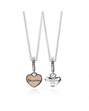PANDORA Mother And Daughter Hearts Family Necklace JSP0066