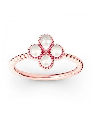 Clover Cultured Pearl Sterling Silver Promise Ring - Joanfeel Australia