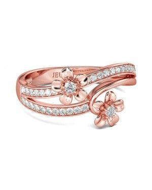 Joanfeel Rose Gold Tone Flower Sterling Silver Stacking Ring