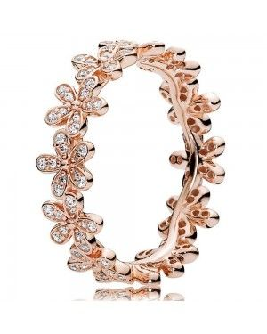 PANDORA Dazzling Daisy Band Floral Ring JSP1449 In Rose Gold