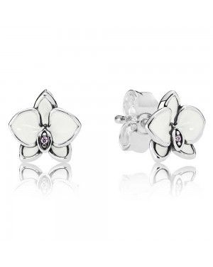 PANDORA White Orchid Floral Stud Earrings JSP1218 In 925 Silver