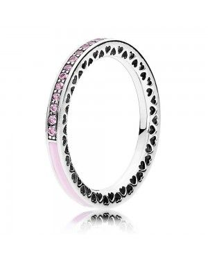 PANDORA Pink Hearts Love Ring JSP1382 With Pave CZ