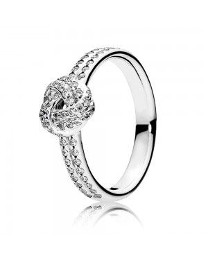 PANDORA Love Knot Ring JSP1369 With Pave CZ In Sterling Silver