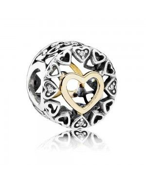 PANDORA Circle Of Love Charm JSP0692 With Pave CZ In Gold