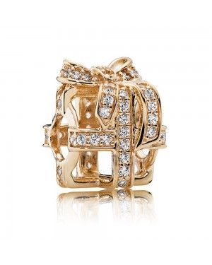 PANDORA All Wrapped Up Openwork Christmas Charm JSP1111 In Gold