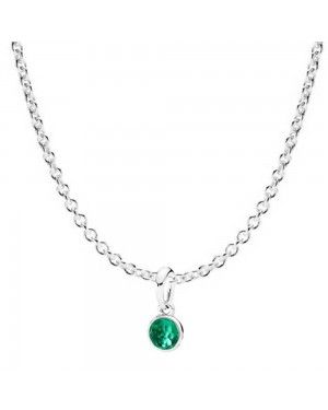 PANDORA May Droplet Birthstone Necklace JSP0093 In Silver