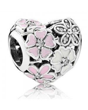 PANDORA Poetic Blooms Floral Heart Floral Charm JSP0791 With Cubic Zirconia In Enamel