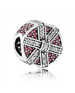 PANDORA Red Shimmering Gift Christmas Charm JSP0695 With Pave CZ