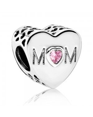 PANDORA Pink Mother Heart Family Charm JSP0745 In Sterling Silver