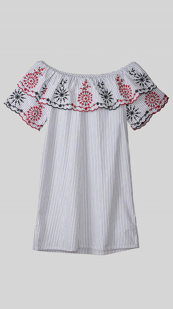 Beyond Clouds - Teen Girls Embroidered Off Shoulder Dress