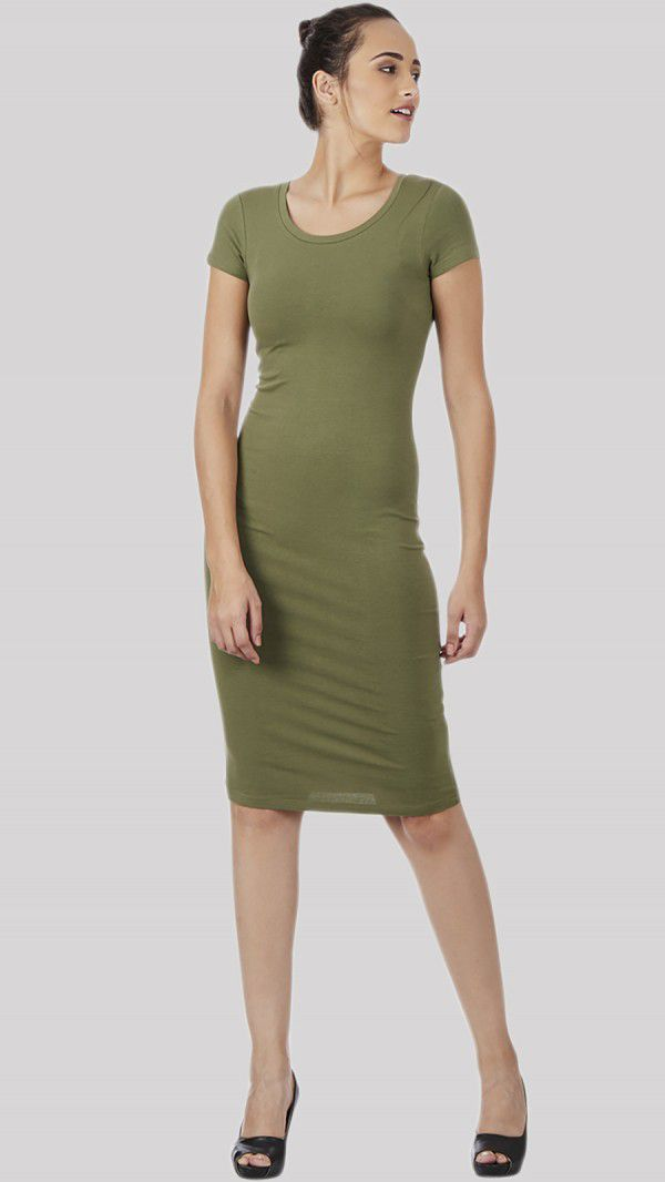 SbuyS - Cap Sleeve Olive Bodycon Dress