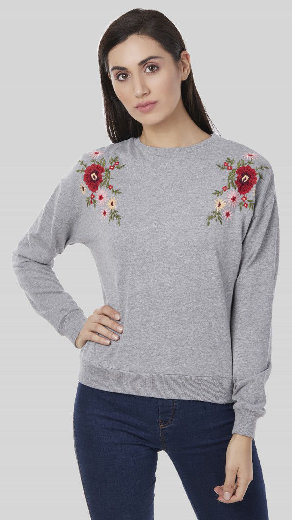 SbuyS -  Shoulder Embroidered Sweatshirt