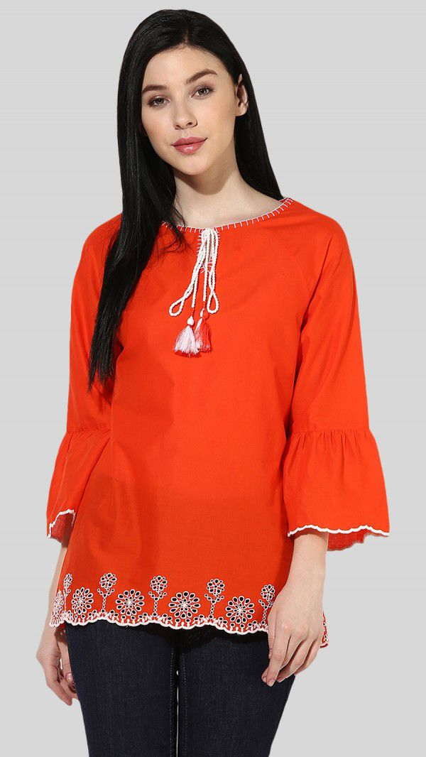 SbuyS  - Cut Work Embroidery Peasant Top