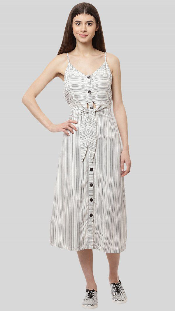 SbuyS - Striper Tie Up Front Midi Dress