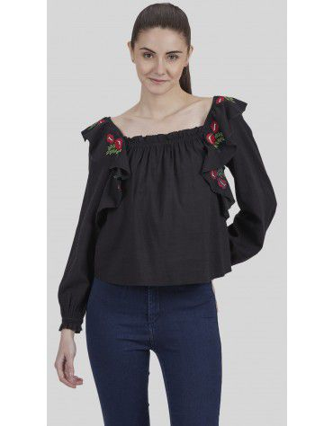 SbuyS - Ruffle Sleeves Embroidered Blouse