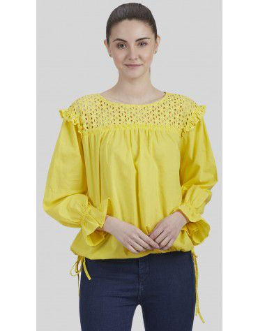 SbuyS - Side Tie Up Schiffli Peasant Top