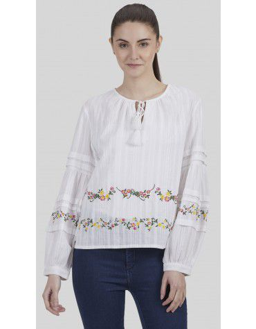 SbuyS - Linear Embroidered Peasant Top