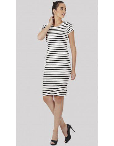SbuyS - Cap Sleeve Stripe Bodycon Dress