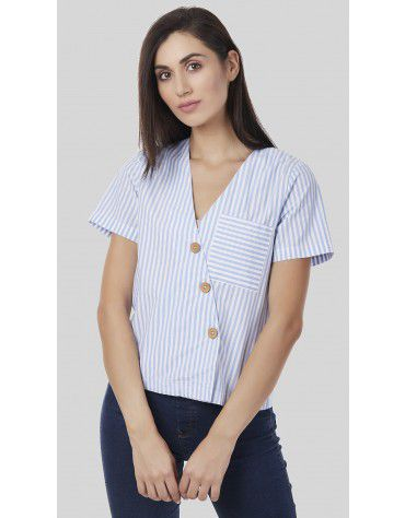 SbuyS - Striped V Neck Shirt