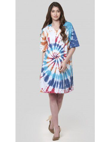 SbuyS - V Neck Tie Dye T-Shirt Dress