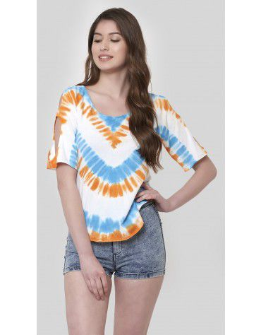 SbuyS - Striper Tie Dye Cold Shoulder Top